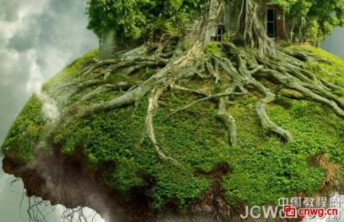 步骤43;   步骤43; > photoshop制作漂浮在空中的树屋