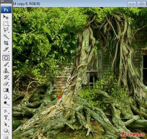 photoshop制作漂浮在空中的树屋
